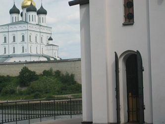 Pskov city, Trinity Cathedral in Kremlin, 17 century. Vew from the St. Olga Chapel.
