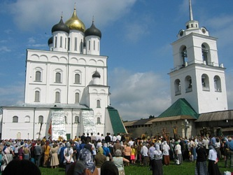 Pskov city. Kremlin with Trinity Cathedral and Belfry.