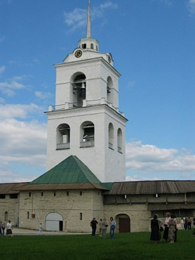 Pskov city. Belfry in Kremlin.