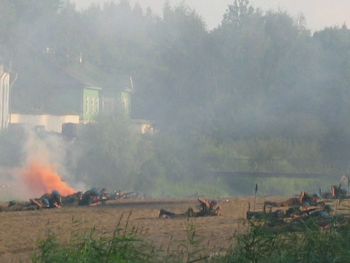Re- enactment of the Battle of the Liberation of Pskov.