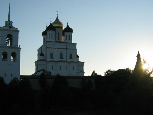 Trinity Cathedral with Belfry in Kremlin Pskov city, East side.
