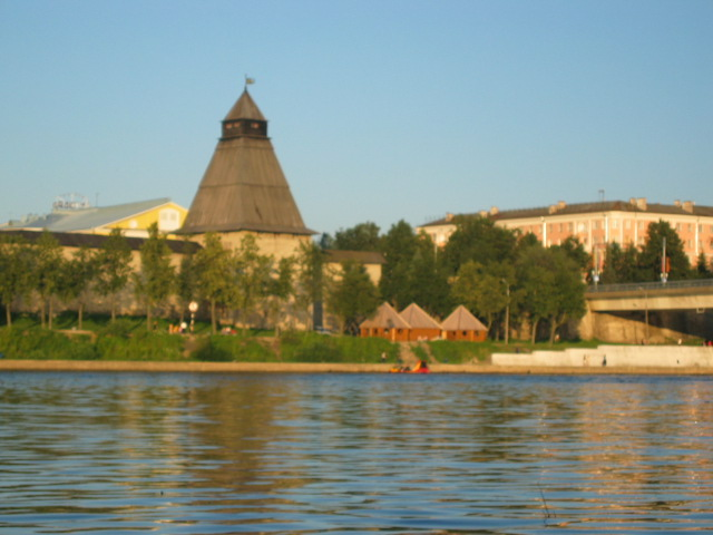 "Tower on the bank of the Velikaya river. Here is restaurant ""Russ"" now, in the tower."